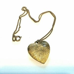 Heart Necklace Pendant Textured Gold Sparkle